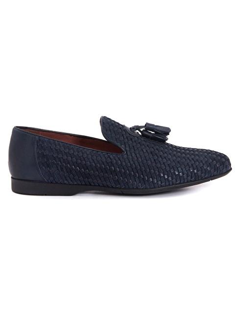 Mocassini %100 Deri Loafer Ayakkabı Lacivert